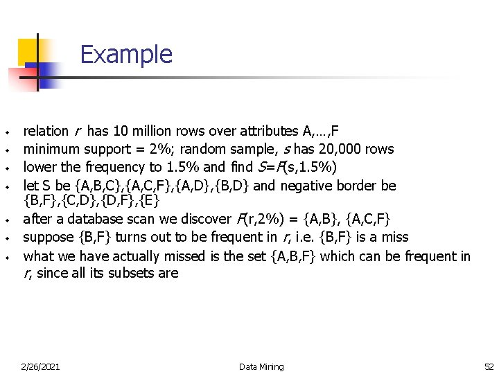Example w w w w relation r has 10 million rows over attributes A,