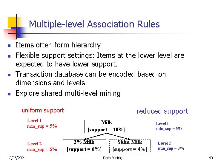 Multiple-level Association Rules n n Items often form hierarchy Flexible support settings: Items at
