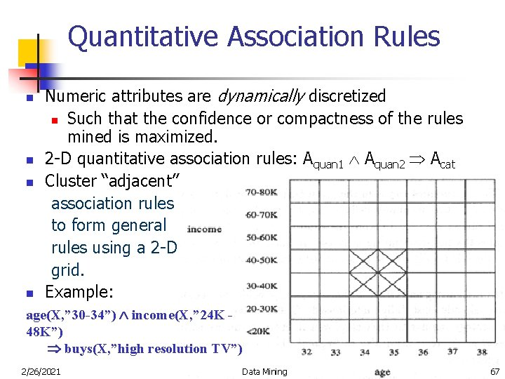 Quantitative Association Rules n n Numeric attributes are dynamically discretized n Such that the