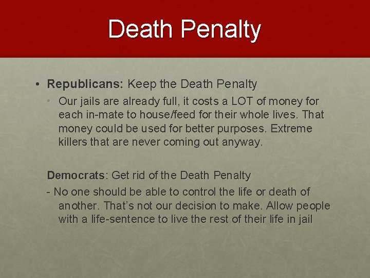 Death Penalty • Republicans: Keep the Death Penalty • Our jails are already full,