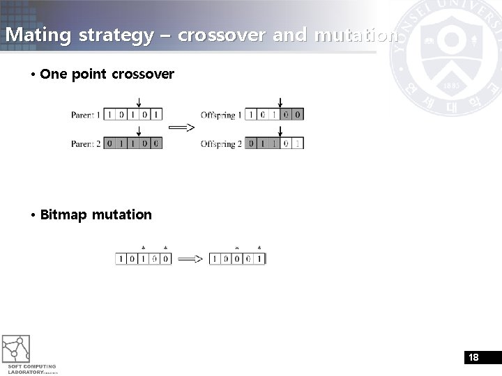 Mating strategy – crossover and mutation • One point crossover • Bitmap mutation 18