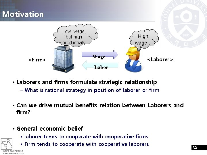Motivation Low wage, but high productivity <Firm> High wage. . . Wage <Laborer> Labor