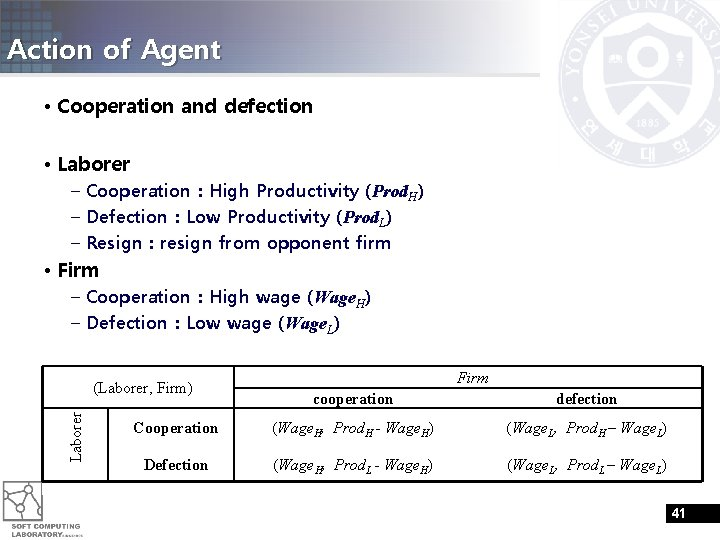 Action of Agent • Cooperation and defection • Laborer – Cooperation : High Productivity