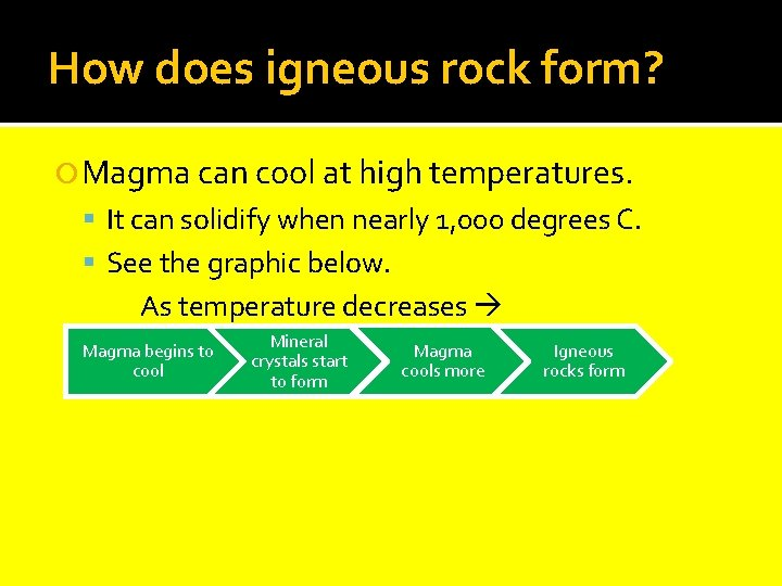 How does igneous rock form? Magma can cool at high temperatures. It can solidify