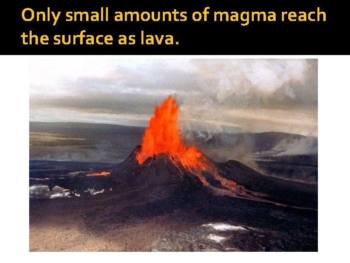 Only small amounts of magma reach the surface as lava.