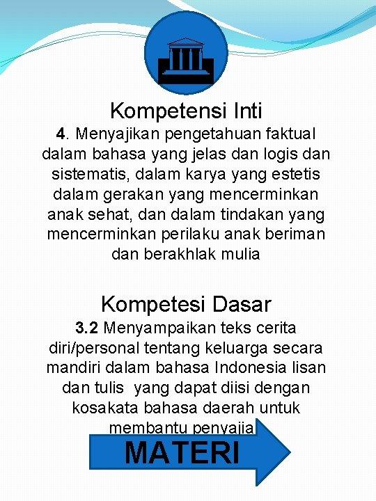 G Kompetensi Inti 4. Menyajikan pengetahuan faktual dalam bahasa yang jelas dan logis dan