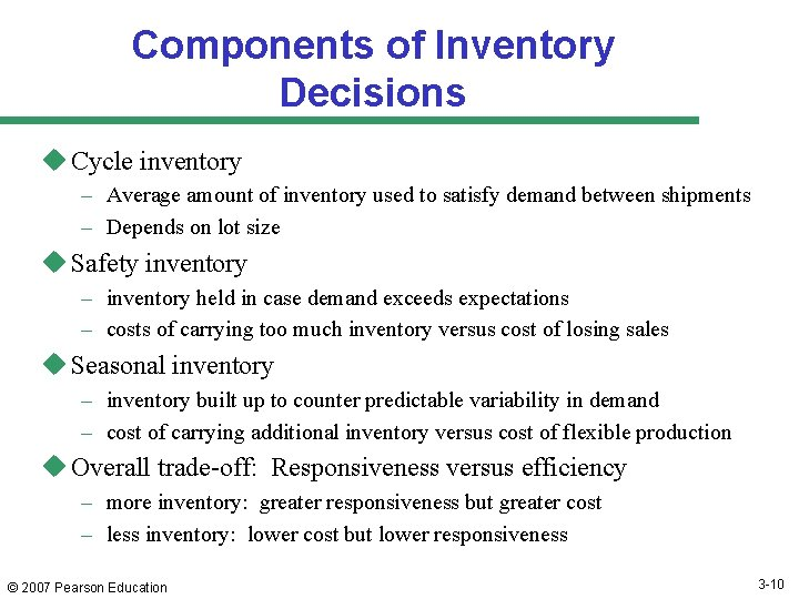 Components of Inventory Decisions u Cycle inventory – Average amount of inventory used to