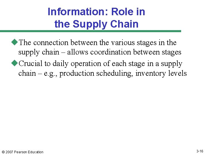 Information: Role in the Supply Chain u. The connection between the various stages in