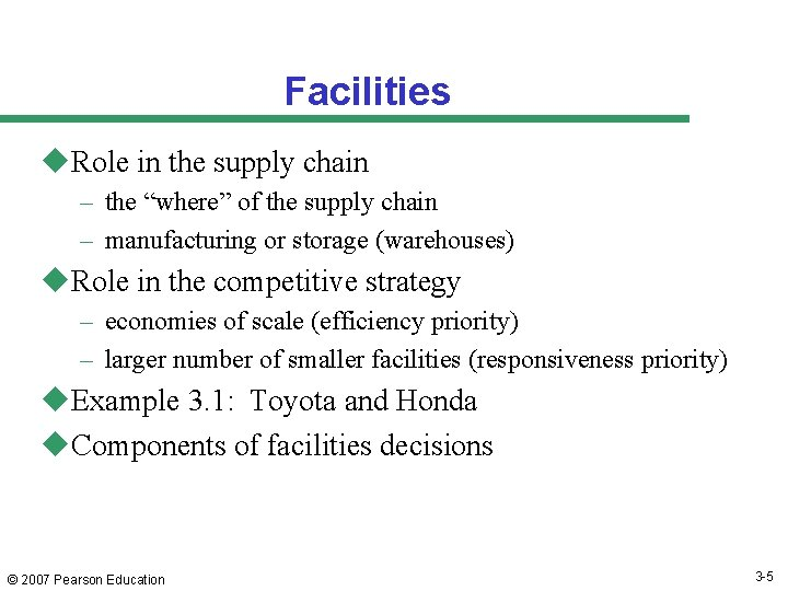"""Facilities u. Role in the supply chain – the """"where"""" of the supply chain"""
