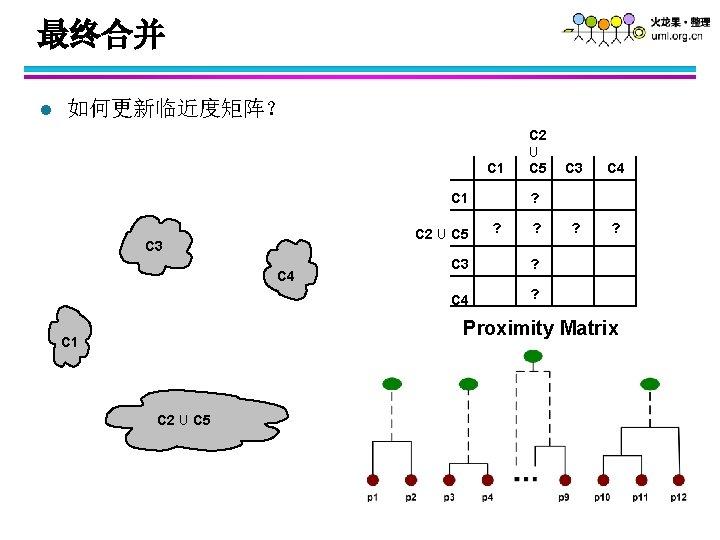 最终合并 l 如何更新临近度矩阵? C 1 C 2 U C 5 C 3 C 4