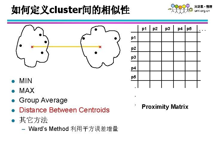如何定义cluster间的相似性 p 1 p 2 p 3 p 4 p 5 p 1 p