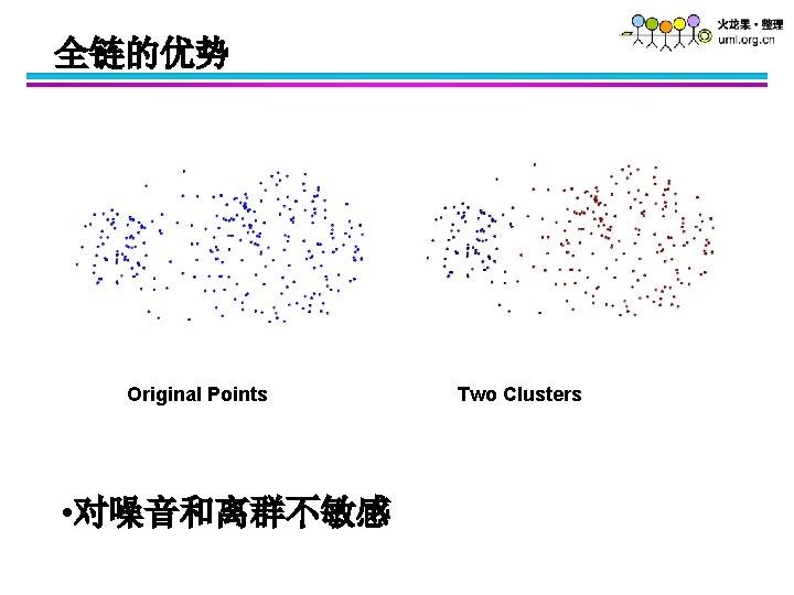 全链的优势 Original Points • 对噪音和离群不敏感 Two Clusters