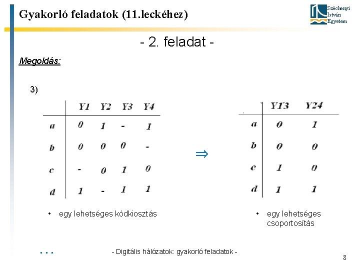 Széchenyi István Egyetem Gyakorló feladatok (11. leckéhez) - 2. feladat Megoldás: 3) ⇒ •