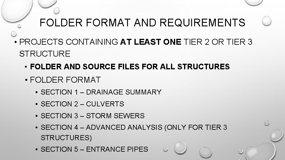 FOLDER FORMAT AND REQUIREMENTS • PROJECTS CONTAINING AT LEAST ONE TIER 2 OR TIER