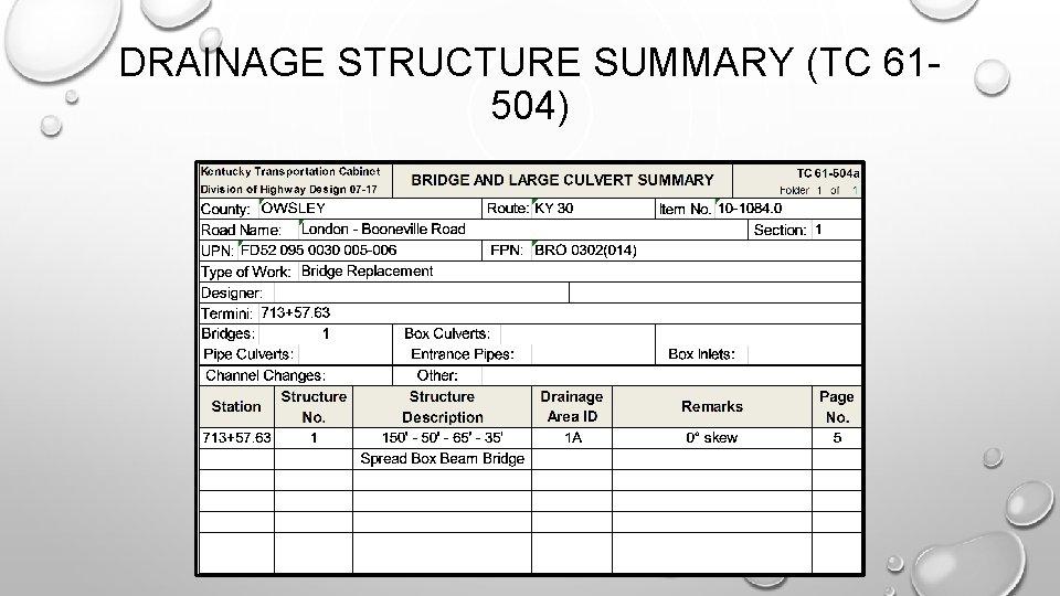 DRAINAGE STRUCTURE SUMMARY (TC 61504)