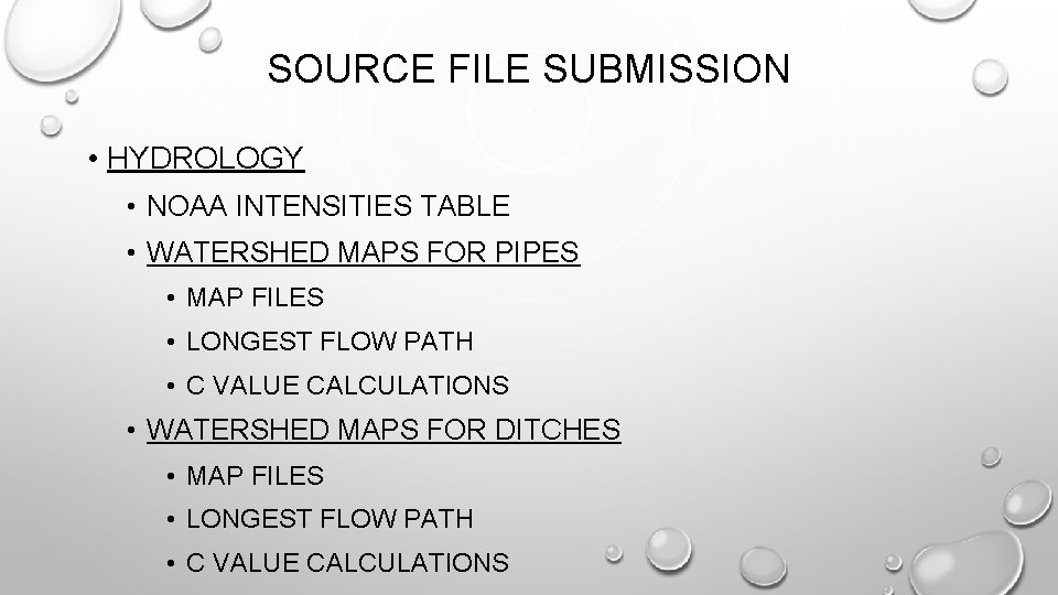 SOURCE FILE SUBMISSION • HYDROLOGY • NOAA INTENSITIES TABLE • WATERSHED MAPS FOR PIPES