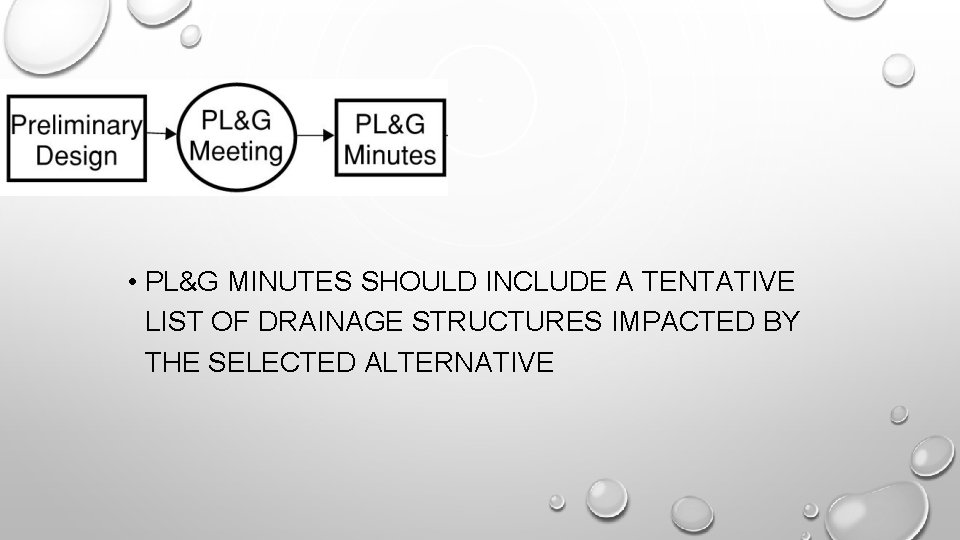 • PL&G MINUTES SHOULD INCLUDE A TENTATIVE LIST OF DRAINAGE STRUCTURES IMPACTED BY