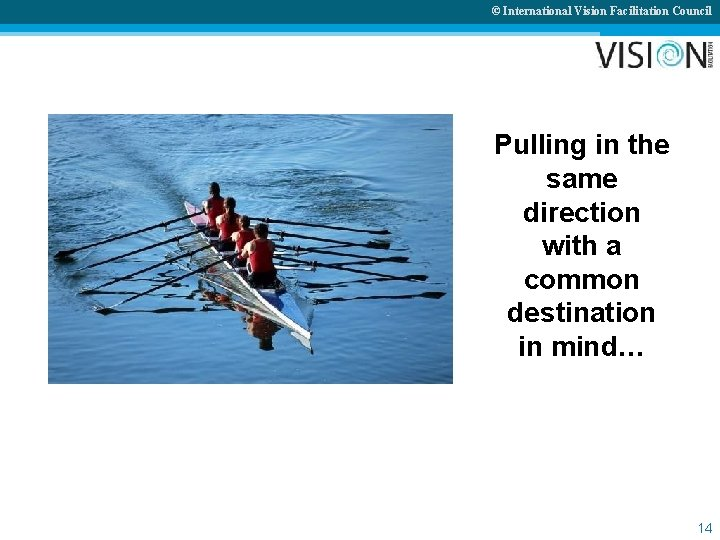 © International Vision Facilitation Council Pulling in the same direction with a common destination