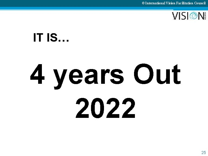 © International Vision Facilitation Council IT IS… 4 years Out 2022 25