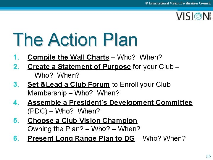 © International Vision Facilitation Council The Action Plan 1. 2. 3. 4. 5. 6.