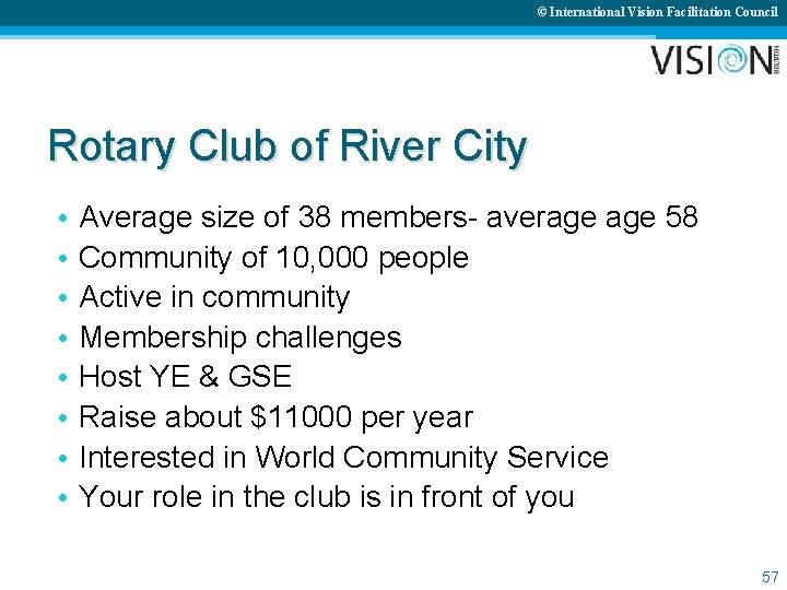 © International Vision Facilitation Council Rotary Club of River City • • Average size