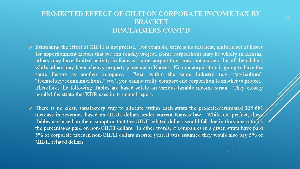 PROJECTED EFFECT OF GILTI ON CORPORATE INCOME TAX BY BRACKET DISCLAIMERS CONT'D Ø Estimating