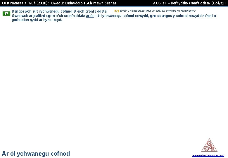 OCR Nationals TGCh (2010) : Uned 1: Defnyddio TGCh mewn Busnes AO 6 (a)