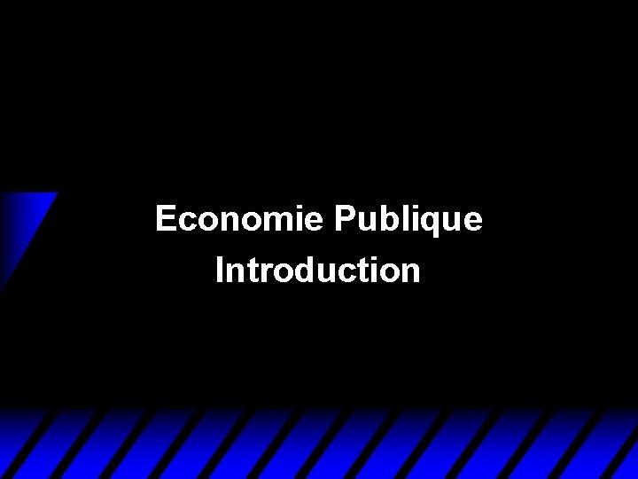 Economie Publique Introduction