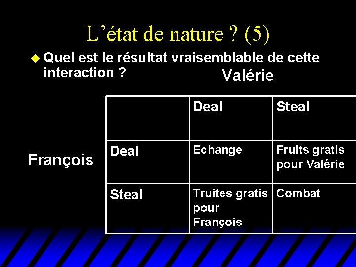 L'état de nature ? (5) u Quel est le résultat vraisemblable de cette interaction