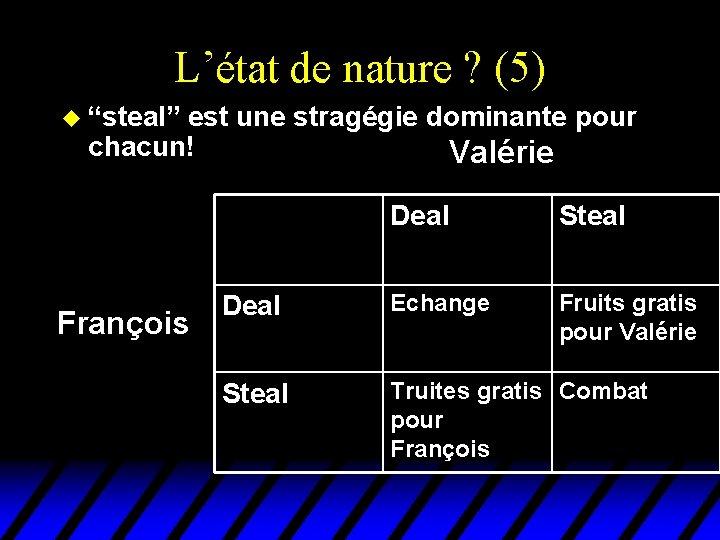 """L'état de nature ? (5) u """"steal"""" est une stragégie dominante pour chacun! François"""