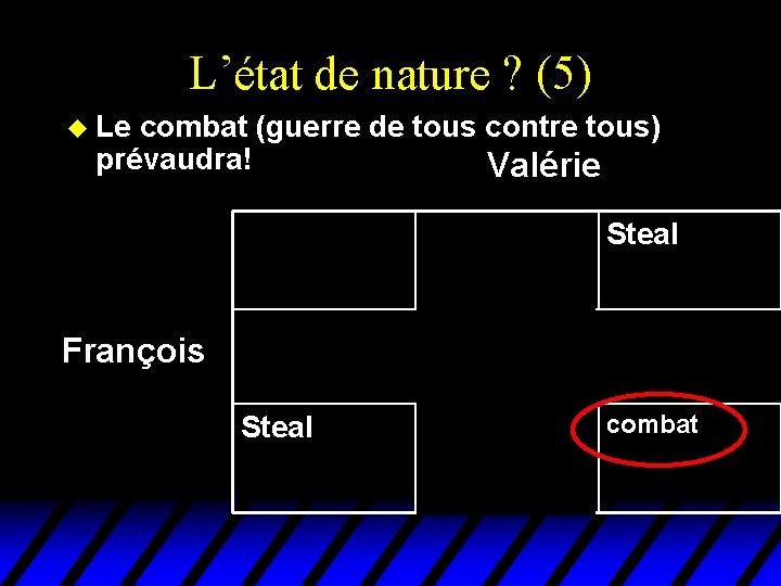 L'état de nature ? (5) u Le combat (guerre de tous contre tous) prévaudra!