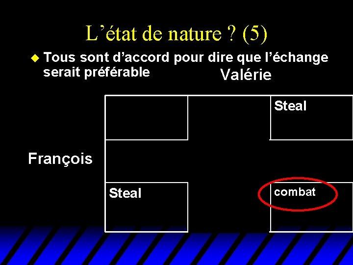 L'état de nature ? (5) u Tous sont d'accord pour dire que l'échange serait