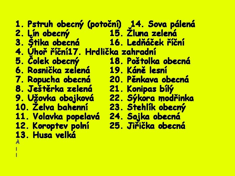 1. Pstruh obecný (potoční) 14. Sova pálená 2. Lín obecný 15. Žluna zelená 3.