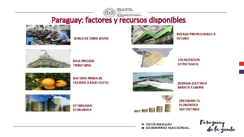 Paraguay: factores y recursos disponibles MANO DE OBRA JOVEN BAJA PRESIÓN TRIBUTARIA MATERIA PRIMA