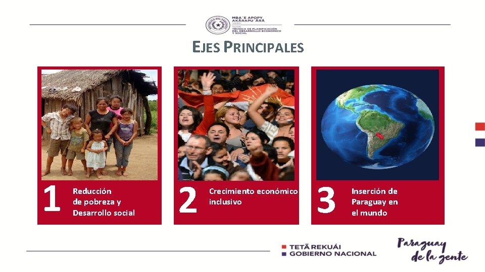 EJES PRINCIPALES 1 Reducción de pobreza y Desarrollo social 2 Crecimiento económico inclusivo 3