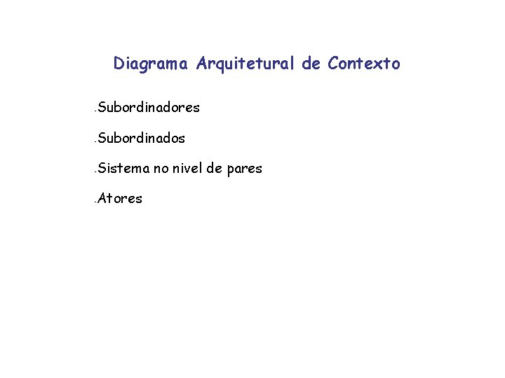 Diagrama Arquitetural de Contexto - Subordinadores - Subordinados - Sistema no nivel de pares