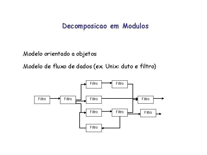 Decomposicao em Modulos - Modelo orientado a objetos - Modelo de fluxo de dados