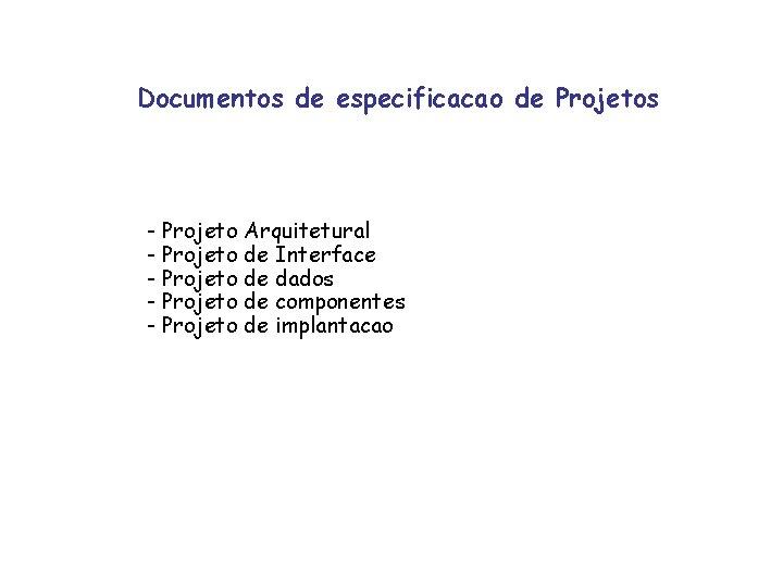 Documentos de especificacao de Projetos - Projeto Arquitetural - Projeto de Interface - Projeto