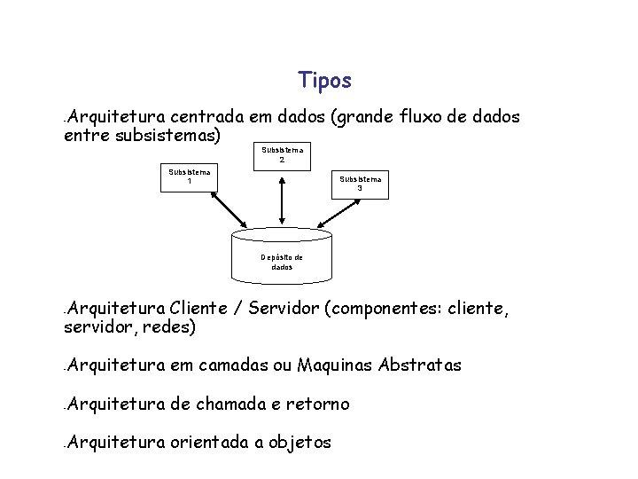Tipos Arquitetura centrada em dados (grande fluxo de dados entre subsistemas) - Subsistema 2