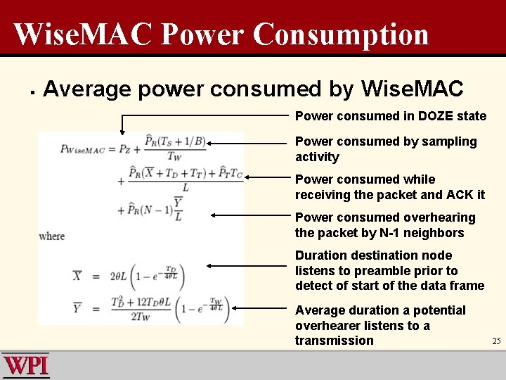 Wise. MAC Power Consumption § Average power consumed by Wise. MAC Power consumed in