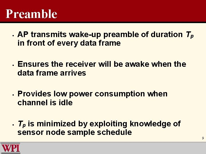 Preamble § § AP transmits wake-up preamble of duration Tp in front of every