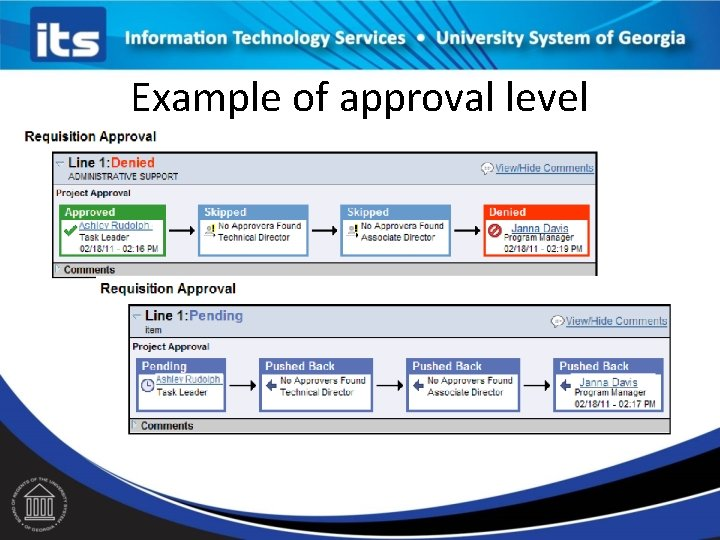 Example of approval level