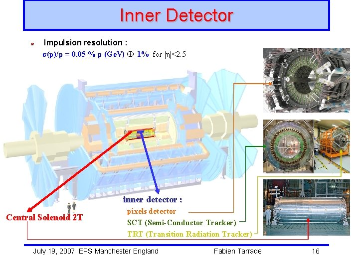 Inner Detector Impulsion resolution : σ(p)/p = 0. 05 % p (Ge. V) 1%