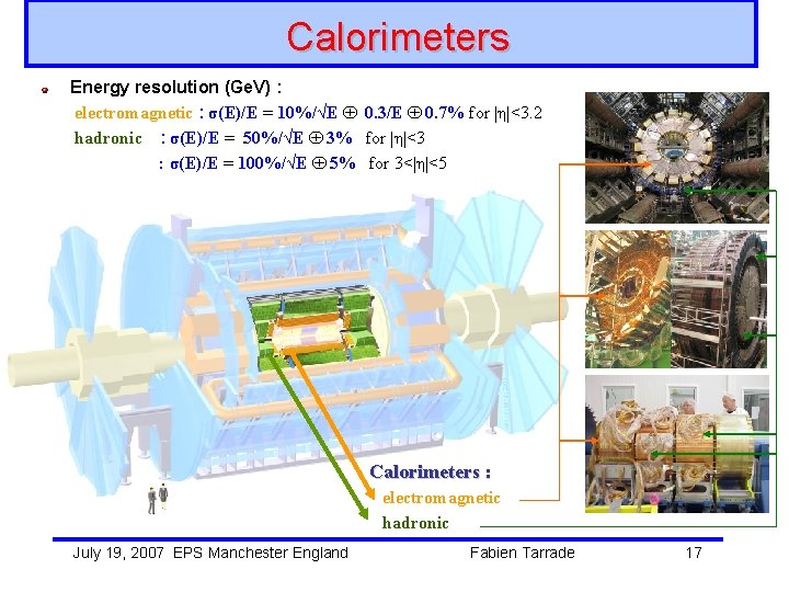 Calorimeters Energy resolution (Ge. V) : electromagnetic : σ(E)/E = 10%/√E 0. 3/E 0.