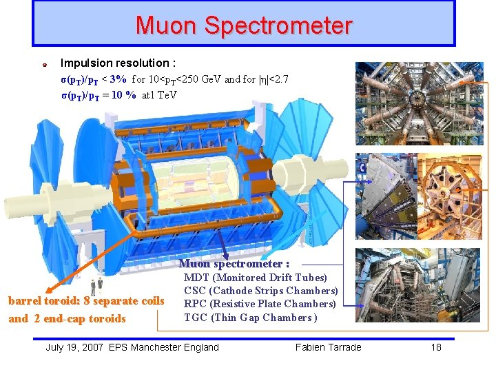 Muon Spectrometer Impulsion resolution : σ(p. T)/p. T < 3% for 10<p. T<250 Ge.