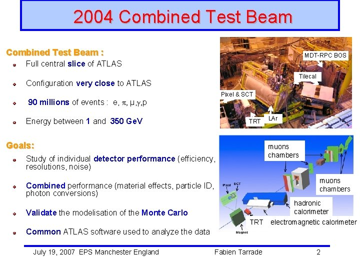2004 Combined Test Beam : MDT-RPC BOS MDT-RPC Full central slice of ATLAS Tilecal