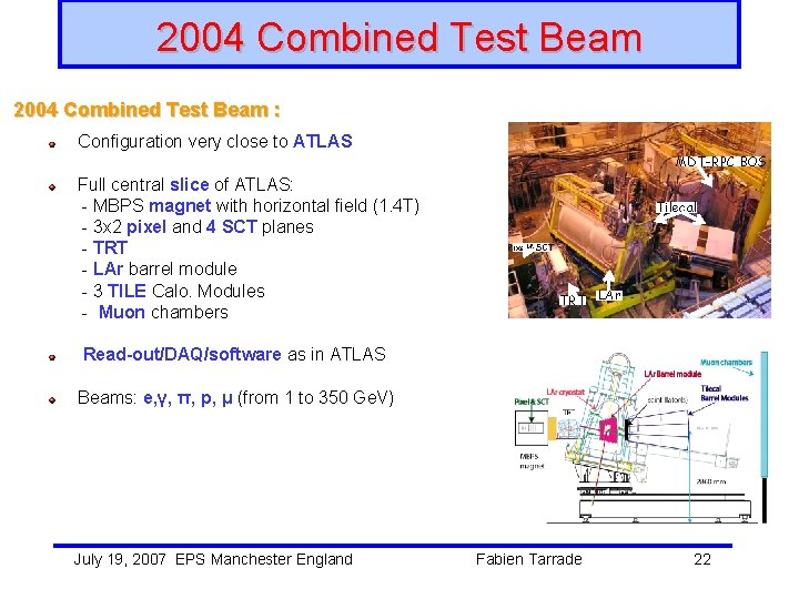 2004 Combined Test Beam : Configuration very close to ATLAS Full central slice of