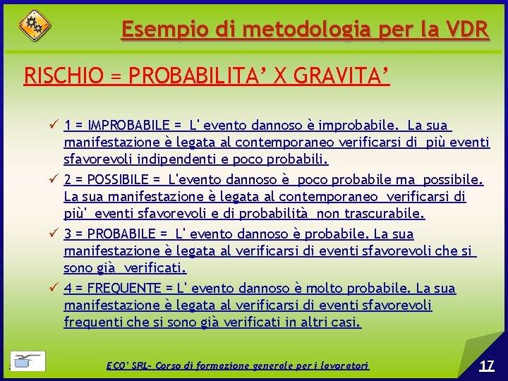 Esempio di metodologia per la VDR RISCHIO = PROBABILITA' X GRAVITA' 1 = IMPROBABILE