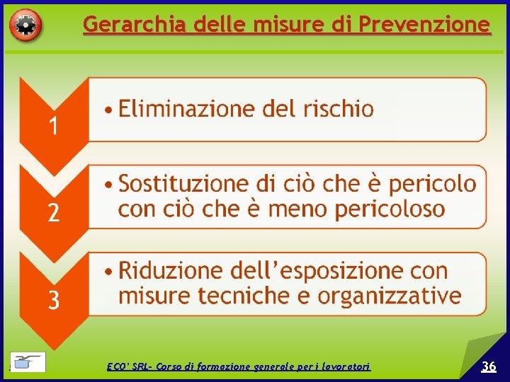 Gerarchia delle misure di Prevenzione © EPC srl ECO' SRL- Corso di formazione generale