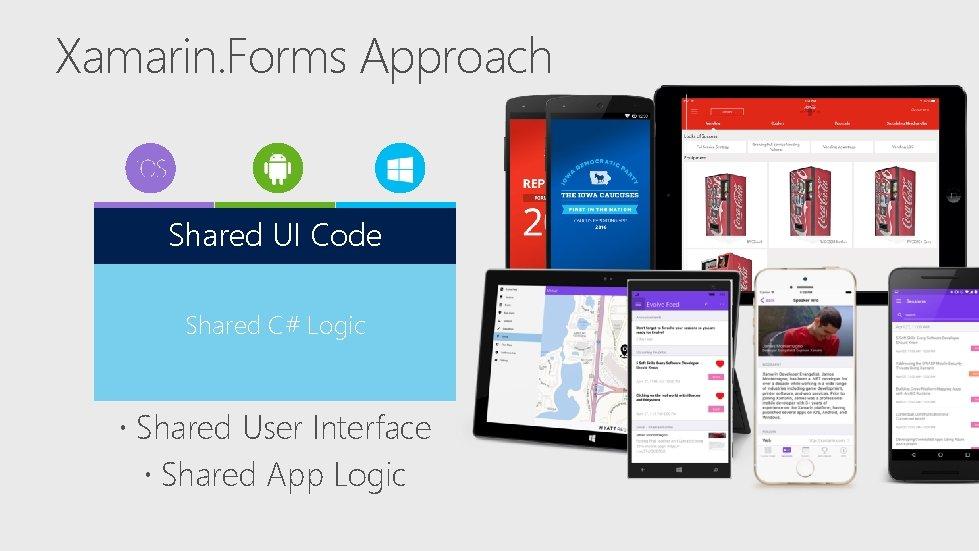 Xamarin. Forms Approach Shared UI Code Shared C# Logic Shared User Interface Shared App
